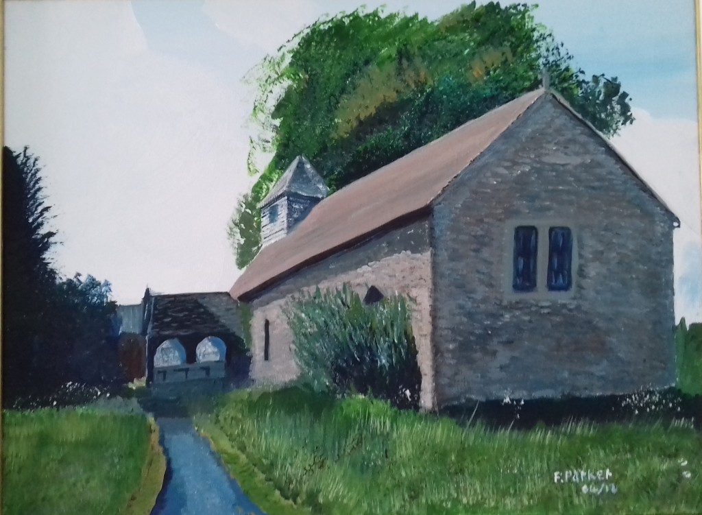 A painting of a the small Church at Turnastone in Herefordshire